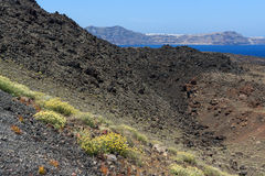 Panoramic view around Chimney of volcano in Nea Kameni island near Santorini, Greece Royalty Free Stock Photo