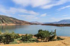Panoramic view of the artificial lake of Bin el Oiudane. Bin El Ouidane, Azilal Province, Béni Mellal-Khénifra, Morocco - November 3, 2012 royalty free stock photography