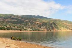 Panoramic view of the artificial lake of Bin el Oiudane. Bin El Ouidane, Azilal Province, Béni Mellal-Khénifra, Morocco royalty free stock image