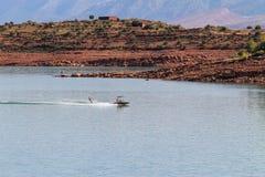 Panoramic view of the artificial lake of Bin el Oiudane. Bin El Ouidane, Azilal Province, Béni Mellal-Khénifra, Morocco - November 3, 2012: Panoramic view royalty free stock photos