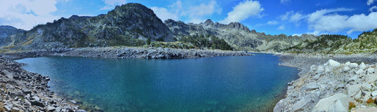 Panoramic view of the artificial lake in mountains Royalty Free Stock Image