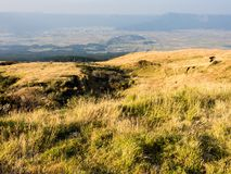 Panoramic view of Aso volcanic caldera from the mountain of central goup. Aso-Kuju National Park, Kumamoto prefecture, Japan royalty free stock photo