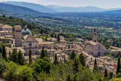 Panoramic view of Assisi, italian medieval town Stock Photo