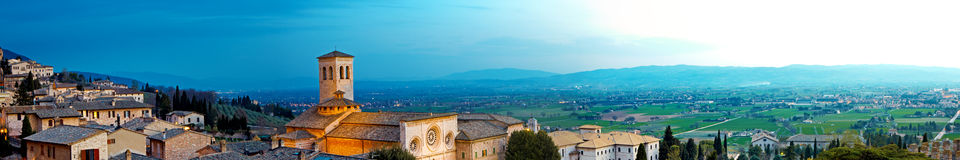 Panoramic View of Assisi Italy Royalty Free Stock Photography