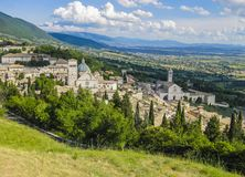 Panoramic view of Assisi, medieval town in Italy. Panoramic view of Assisi, medieval town famous for being the birthplace of Saint Francis, Umbria , Italy Stock Images