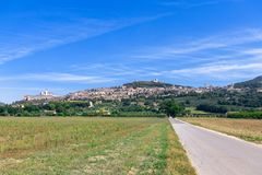 Panoramic view of Assisi, in the Province of Perugia, Umbria, It stock photos