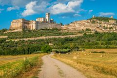 Panoramic view of Assisi, in the Province of Perugia, in the Umbria region of Italy. royalty free stock photos