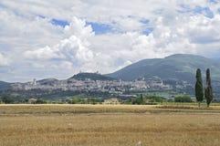 Panoramic view of Assisi. Umbria. Stock Photos