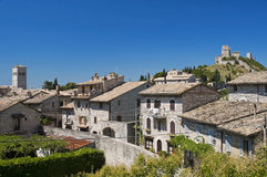Panoramic view of Assisi. Umbria. Stock Photo