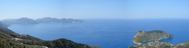 Panoramic view of Assos peninsula in Kefalonia Royalty Free Stock Image