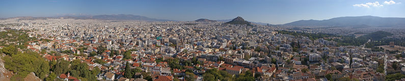 Panoramic view on the Athens Stock Photos