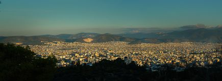 Panoramic view of Athens in the morning royalty free stock photos