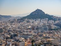 Panoramic view of Athens and Mount Lycabettus from the Acropolis of Athens, Greece stock image
