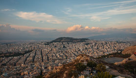 Panoramic view of Athens from Mount Lycabettus Royalty Free Stock Image