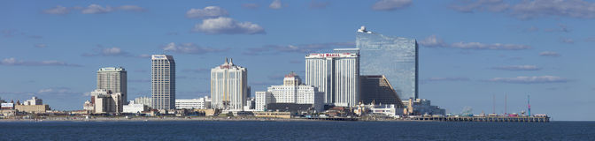 Panoramic view of Atlantic City, New Jersey from the ocean Stock Photos
