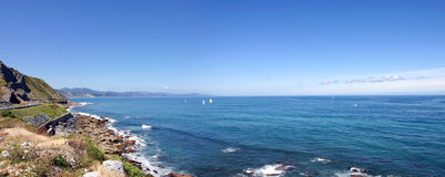 Panoramic view of the Atlantic Ocean close to Bilbao. Royalty Free Stock Image