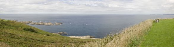 Panoramic view of the Atlantic Ocean. These beautiful gardens are located in Galicia. Spain stock photos