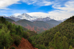 Panoramic View of Atlas mountains in Morocco. Canyon in the High Atlas mountains near Marrakesh in Ourika Valley Stock Photography