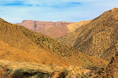 Panoramic View of Atlas mountains in Morocco. Canyon in the High Atlas mountains near Marrakesh in Ourika Valley Royalty Free Stock Photography