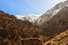Panoramic View of Atlas mountains in Morocco. Canyon in the High Atlas mountains near Marrakesh in Ourika Valley Royalty Free Stock Photos