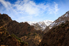 Panoramic View of Atlas mountains in Morocco. Canyon in the High Atlas mountains near Setti Fatma in Ourika Valley Stock Photos