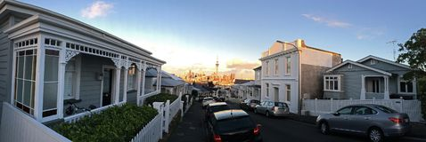 Panoramic view of  Auckland CBD skyline as seen east from Ponson Stock Images