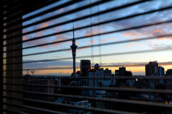Panoramic view of Auckland skyline at sunriser - New Zealand Royalty Free Stock Image