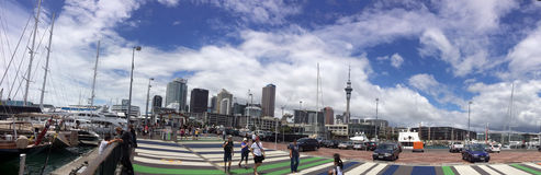 Panoramic view of Auckland waterfront skyline Royalty Free Stock Images