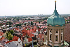 Panoramic view of Augsburg, Perlach Tower, Germany Royalty Free Stock Photos