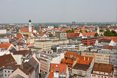 Panoramic view of Augsburg from Perlach Tower, Germany Stock Photos