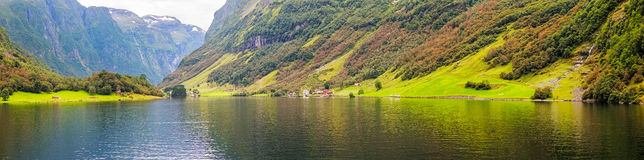 Panoramic view of  the Aurlandsfjord in Norway Royalty Free Stock Image