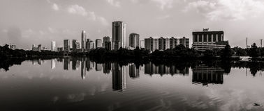 Panoramic View of Austin Texas Skyline monochrome Royalty Free Stock Images