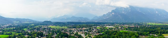 Panoramic view on Austria Alps and Salzburg Stock Photography