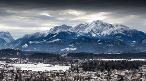 Panoramic view on Austrian Alps covered by snow at cloudy day Royalty Free Stock Photos