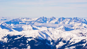 Panoramic view of Austrian alps from the top of Kaprun glacier Stock Photos