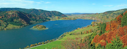 Panoramic view autum landscape schliersee Royalty Free Stock Image