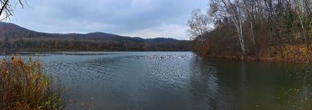 Panoramic view of the autumn lake Stock Image