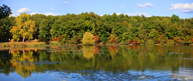 Panoramic view autumn reflections Royalty Free Stock Images