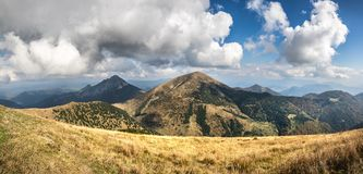 Panoramic view from autumn slovak Little Fatra hills National Pa Royalty Free Stock Images