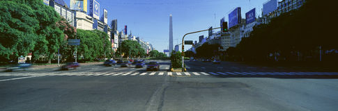 Panoramic view of Avenida 9 de Julio, widest avenue in the world, and El Obelisco, The Obelisk, Buenos Aires, Argentina royalty free stock images
