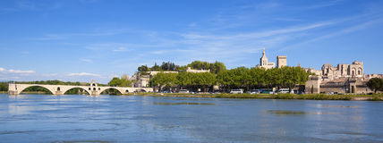 Panoramic view of Avignon Bridge Royalty Free Stock Image
