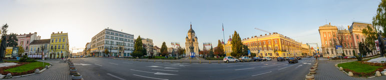 Panoramic view of Avram Iancu Square in Cluj-Napoca Transylvania Region of Romania Royalty Free Stock Photos