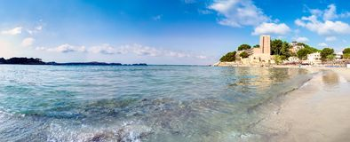 Panoramic view background beach with sea wave. Malorca, Spain stock photography