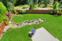 Panoramic view of backyard landscape. Stock Photography
