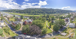 Panoramic view of Bad Schandau in Germany. Stock Photos
