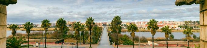 Panoramic view of Badajoz city with Palms Bridge Stock Images