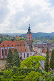 Panoramic view on Baden-Baden church Stiftskirche and the city Stock Photos