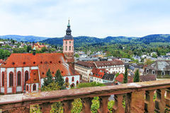 Panoramic view of Baden-Baden church Stiftskirche and city Stock Photography
