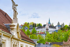 Panoramic view of Baden-Baden city and the angel sculpture Stock Photography