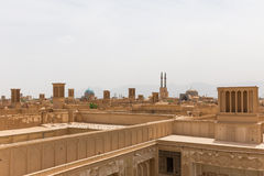 Panoramic view of badgirs and mosques of Yazd Royalty Free Stock Photography